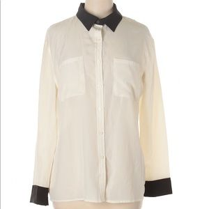 Mossimo Ivory/Black Button Down Shirt M